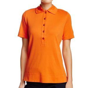 Tory Burch Cotton Short Sleeve Orange Polo Shirt